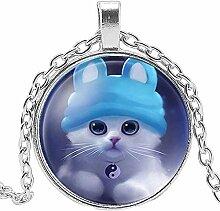 Halskette mit Anhänger mit Katzenanhänger rund