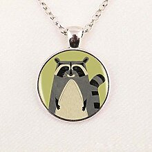 Halskette mit Anhänger, Motiv: Waschbär-Logo,