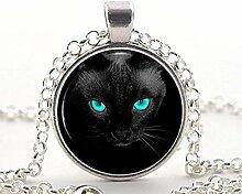 Halskette mit Anhänger, schwarze Katze, blaue