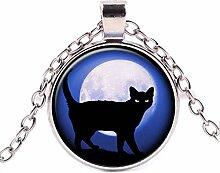 Halskette mit Anhänger Schwarze Katze und blauer