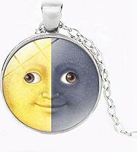 Halskette mit Anhänger Sonne und Mond,