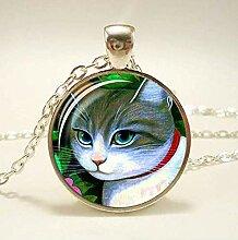 Halskette mit Anhänger, süßes Katzen-Design,