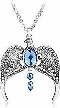Halskette mit Anhänger versilbert blauer Stein