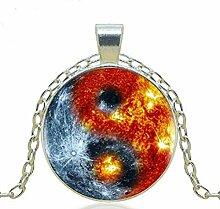 Halskette mit Anhänger Ying Yang Sonne und Mond,