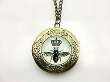 Halskette mit Bienen-Foto-Medaillon mit