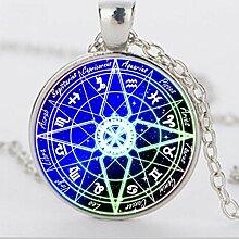 Halskette mit blauem Pentagramm Wicca-Glas