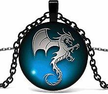Halskette mit Drachenanhänger aus Glas,