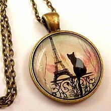 Halskette mit Eiffelturm und schwarzer Katze