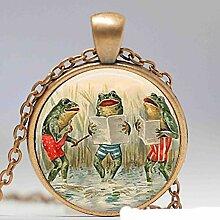 Halskette mit Frosch-Anhänger, rund, 27 mm,
