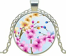 Halskette mit indischem Blumen-Anhänger,