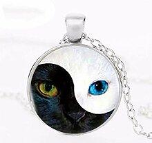 Halskette mit Katzenanhänger Yin Yang