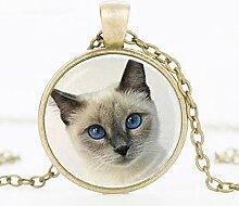 Halskette mit Katzenaugen-Anhänger im