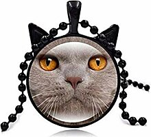 Halskette mit Katzengesicht-Anhänger,