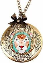 Halskette mit Löwen-Anhänger, bronzefarben,