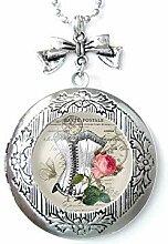 Halskette mit Medaillon für Fotos, rosa