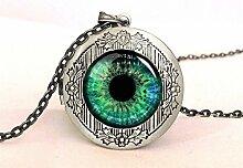 Halskette mit Medaillon mit grünem Auge,