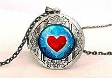 Halskette mit Medaillon mit rotem Herzmotiv,