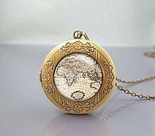 Halskette mit Medaillon, Weltkarte, Vintage-Stil,
