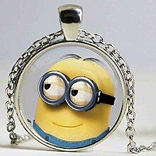 Halskette mit Minion-Anhänger aus Glas mit