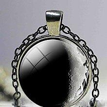 Halskette mit Mond-Anhänger, glänzend, schwarz,