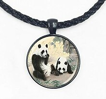 Halskette mit Panda-Anhänger, Glas
