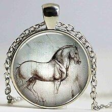 Halskette mit Pferdeanhänger im Sommer-Design mit