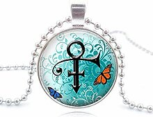 Halskette mit Prinz-Symbol Glas-Cabochon Anhänger