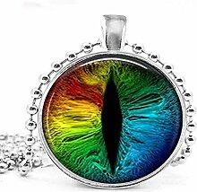 Halskette mit Regenbogen-Drachenaugen-Anhänger