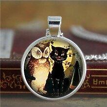 Halskette mit schwarzer Katze, Halloween-Schmuck,