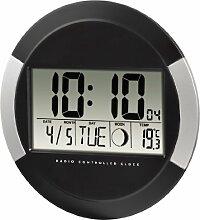 Hama Digitale Wanduhr PP-245, Funkuhr mit Thermometer, Zeitzoneneinstellung, Kalender und Mondphase, schwarz