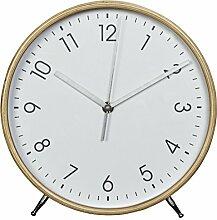 Hama Tischuhr Wanduhr aus Holz (geräuscharme Uhr