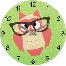 Hama Wanduhr Eule mit Brille (Aus Glas,