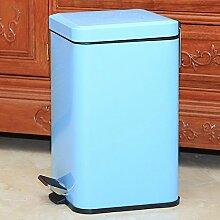Hamhu Mülleimer Pedal Haushalt Edelstahl, 12 Liter Blau