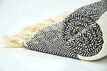 "Hammam Pestemal Turkish Towel Peshtemal for Hamam Bathrobe Spa Pool Massage Sauna Beach Yacht Gym Fitness Kitchen Yoga Baby Towel Picnic Blanket 100% Cotton DIAMOND ""Black"