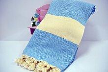 Hammamtuch Pestemal Turkish Towel Peshtemal for Hamam Bathrobe Spa Pool Massage Sauna Beach Yacht Gym Fitness Kitchen Yoga Baby Towel Picnic Blanket 100% Cotton DIAMOND (Blue)