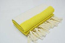 Hammamtuch Pestemal Turkish Towel Peshtemal for Hamam Bathrobe Spa Pool Massage Sauna Beach Yacht Gym Fitness Kitchen Yoga Baby Towel Picnic Blanket 100% Cotton DIAMOND (Yellow)