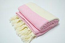 Hammamtuch Pestemal Turkish Towel Peshtemal for Hamam Bathrobe Spa Pool Massage Sauna Beach Yacht Gym Fitness Kitchen Yoga Baby Towel Picnic Blanket 100% Cotton DIAMOND (Pink)