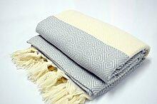 Hammamtuch Pestemal Turkish Towel Peshtemal for Hamam Bathrobe Spa Pool Massage Sauna Beach Yacht Gym Fitness Kitchen Yoga Baby Towel Picnic Blanket 100% Cotton DIAMOND (Grey)