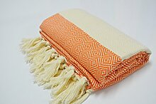Hammamtuch Pestemal Turkish Towel Peshtemal for Hamam Bathrobe Spa Pool Massage Sauna Beach Yacht Gym Fitness Kitchen Yoga Baby Towel Picnic Blanket 100% Cotton DIAMOND (Orange)
