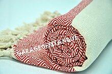 Hammamtuch Pestemal Turkish Towel Peshtemal for Hamam Bathrobe Spa Pool Massage Sauna Beach Yacht Gym Fitness Kitchen Yoga Baby Towel Picnic Blanket 100% Cotton DIAMOND (Red)