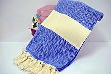 Hammamtuch Pestemal Turkish Towel Peshtemal for Hamam Bathrobe Spa Pool Massage Sauna Beach Yacht Gym Fitness Kitchen Yoga Baby Towel Picnic Blanket 100% Cotton DIAMOND (Royal)