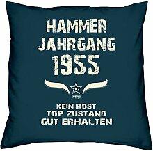 Hammer Jahrgang 1955 Sprüche Kissen 40x40 für