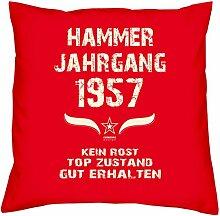 Hammer Jahrgang 1957 Sprüche Kissen 40x40 für