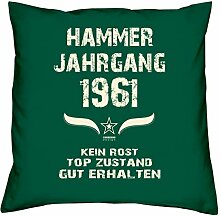 Hammer Jahrgang 1961 Sprüche Kissen 40x40 für