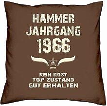 Hammer Jahrgang 1966 Sprüche Kissen 40x40 für