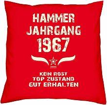 Hammer Jahrgang 1967 Sprüche Kissen 40x40 für