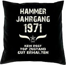 Hammer Jahrgang 1971 Sprüche Kissen 40x40 für