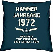 Hammer Jahrgang 1972 Sprüche Kissen 40x40 für