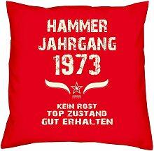 Hammer Jahrgang 1973 Sprüche Kissen 40x40 für