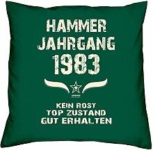 Hammer Jahrgang 1983 Sprüche Kissen 40x40 für